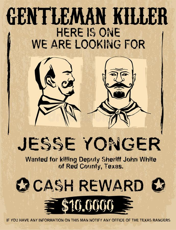 Vintage Wanted Poster Stock Vector Illustration Of Outlaw 111941073