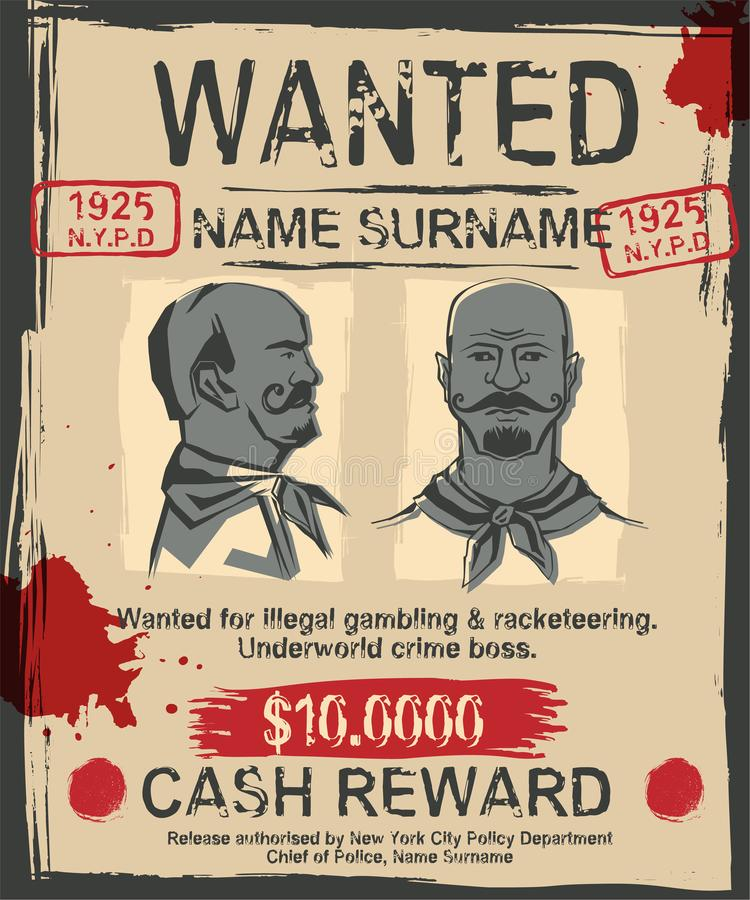 Vintage wanted poster stock vector. Illustration of label - 112473989