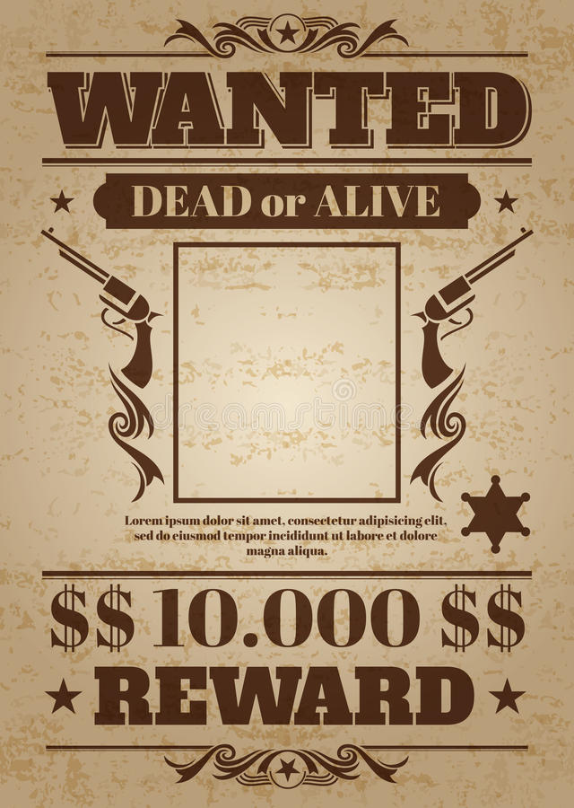 Vintage wanted western poster with blank space for criminal photo. Vector mockup stock illustration