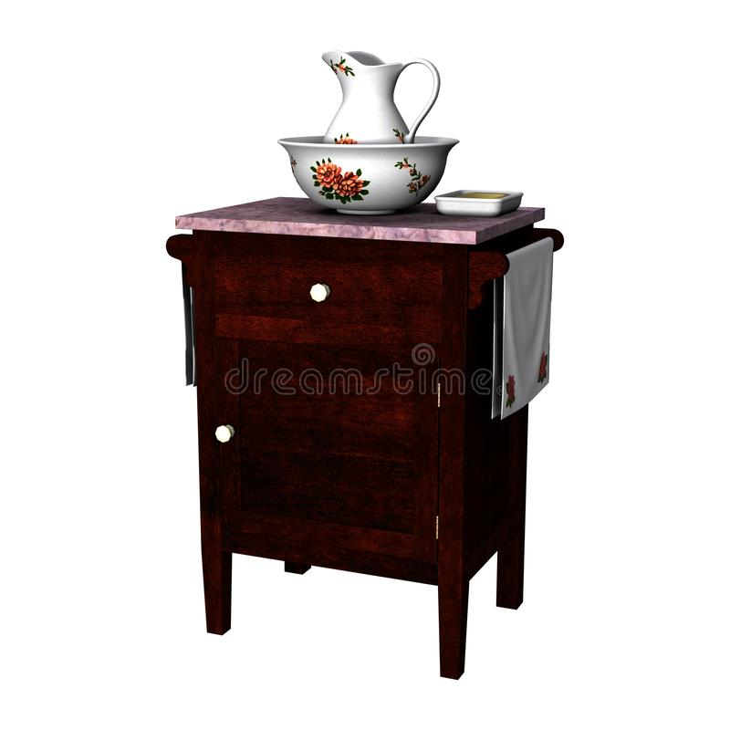 Vintage Washstand with Jug and Bowl Isolated vector illustration