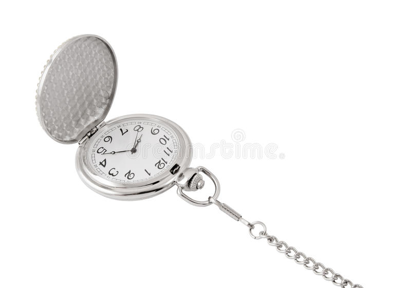 Vintage watch with chain isolated. On white background stock images