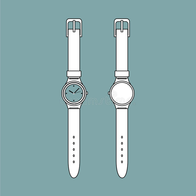 Vintage watch outline vector stock image