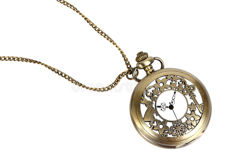 Vintage watch pendant on the white background, isolated.  stock photography