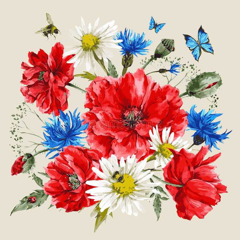 Free Vintage Watercolor Bouquet Of Wildflowers, Poppies Royalty Free Stock Photos - 56909238