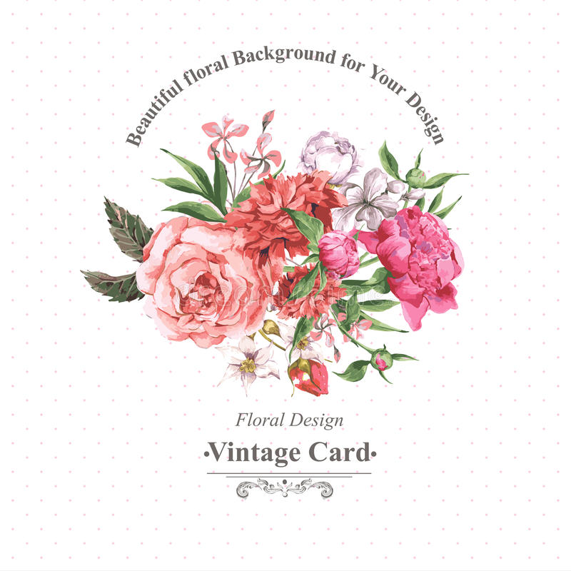Vintage Watercolor Greeting Card with Blooming Flowers. Roses, Wildflowers and Peonies stock illustration
