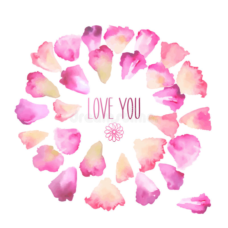 Vintage watercolor greeting card with floral petals. Love You with place for your text. royalty free illustration
