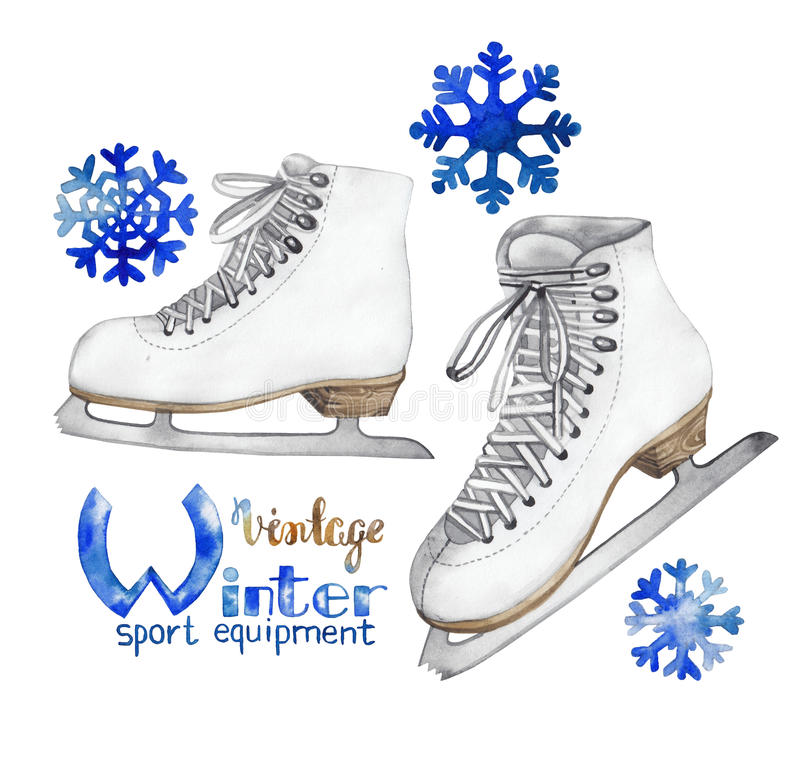 Vintage watercolor ice skates royalty free illustration