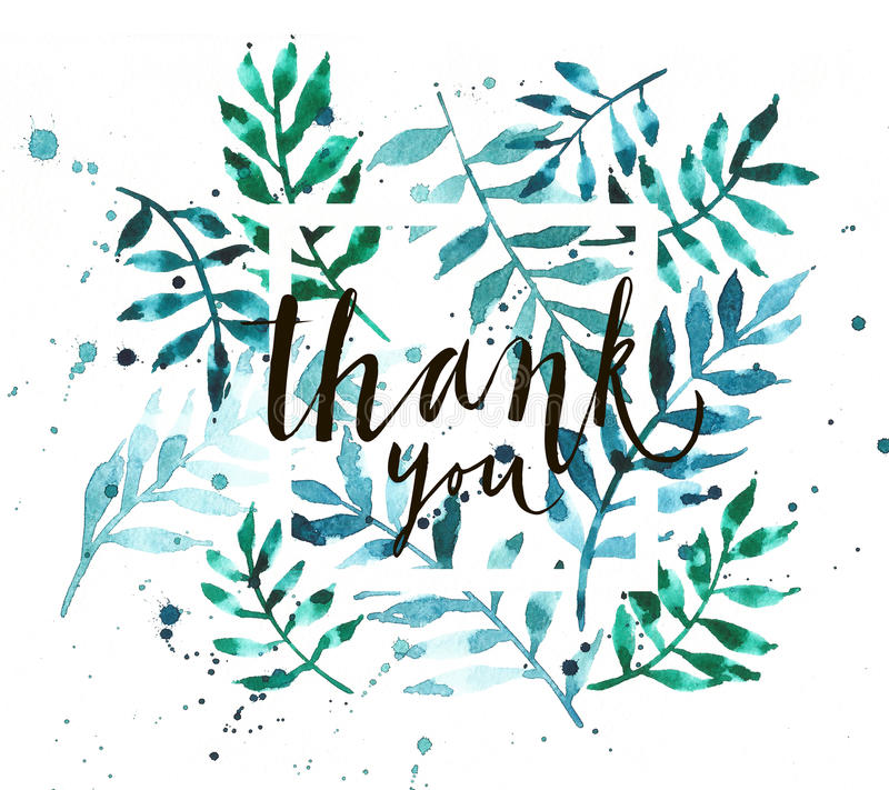 Download Vintage Watercolor Palm Leaves Background With Word Thank You Stock Illustration - Image: 83703910