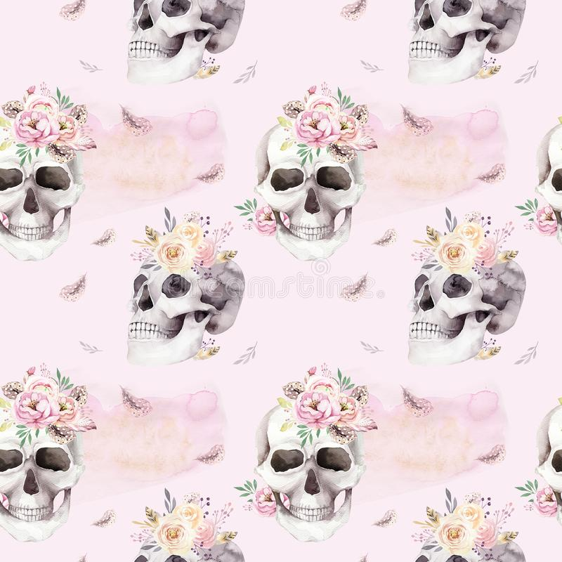 Vintage watercolor patterns with skull and roses, wildflowers, Hand drawn illustration in boho style. Floral skull. Vintage watercolor patterns with skull and stock illustration