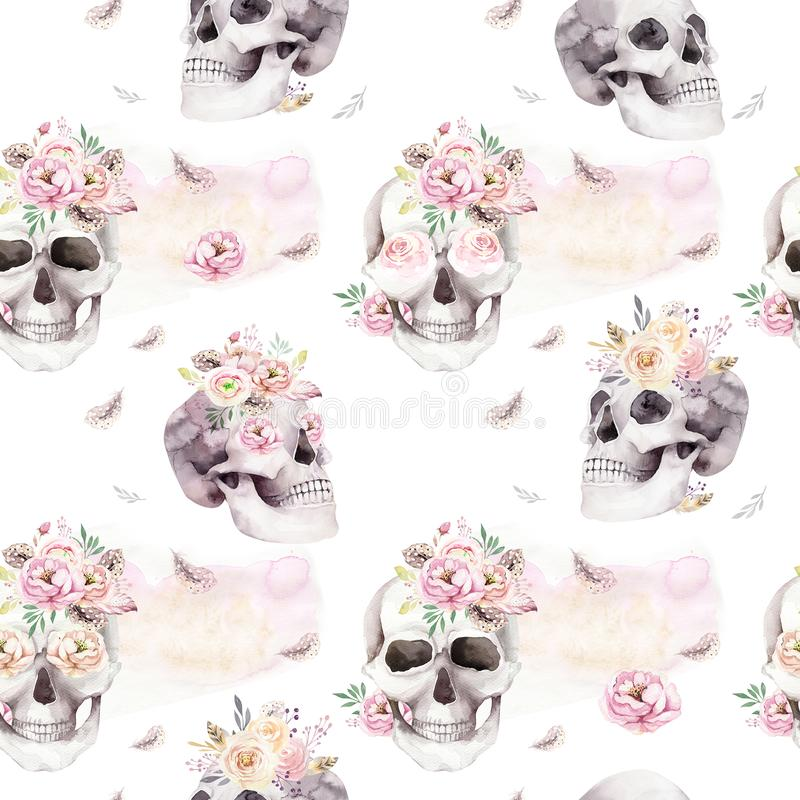Vintage watercolor patterns with skull and roses, wildflowers, Hand drawn illustration in boho style. Floral skull. Vintage watercolor patterns with skull and vector illustration
