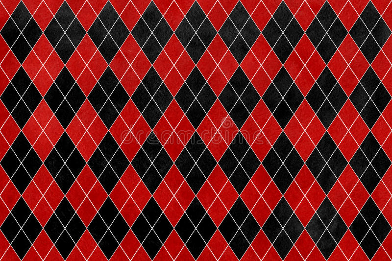 Vintage Watercolor Red And Black Diamond Pattern Geometrical Traditional Ornament For Fashion Textile Cloth Backgrounds