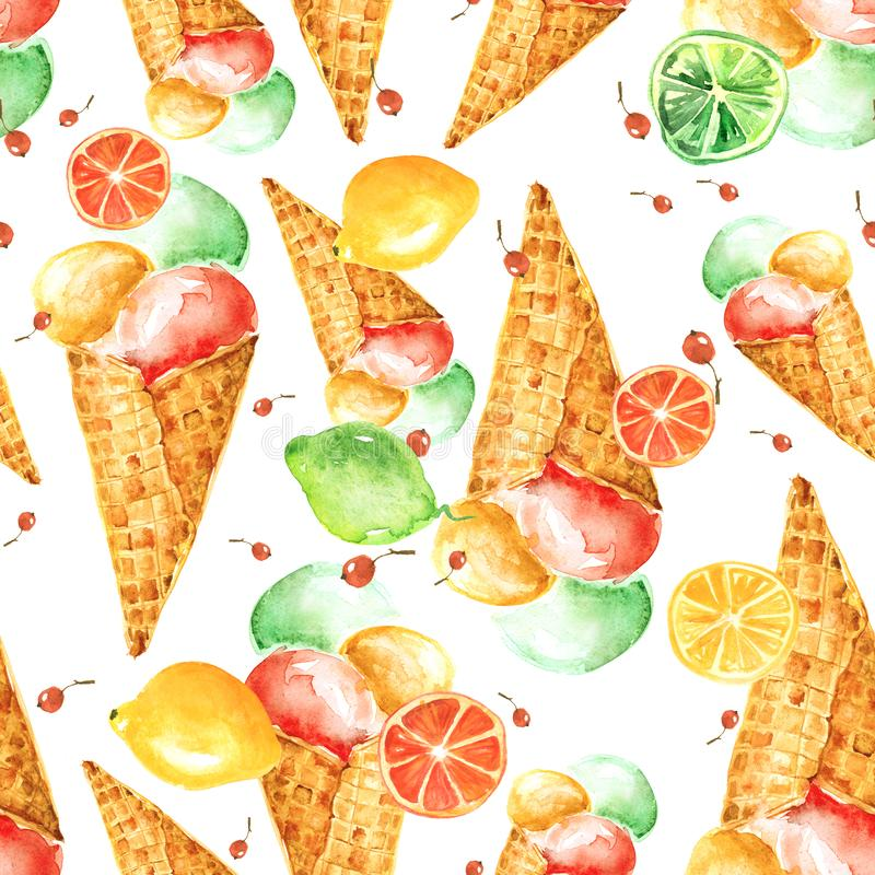 Vintage watercolor seamless pattern - wafer cone ice cream with berries stock illustration
