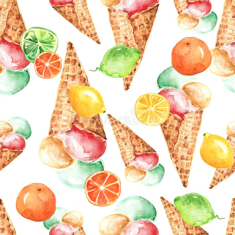 Vintage watercolor seamless pattern - wafer cone ice cream with berries vector illustration