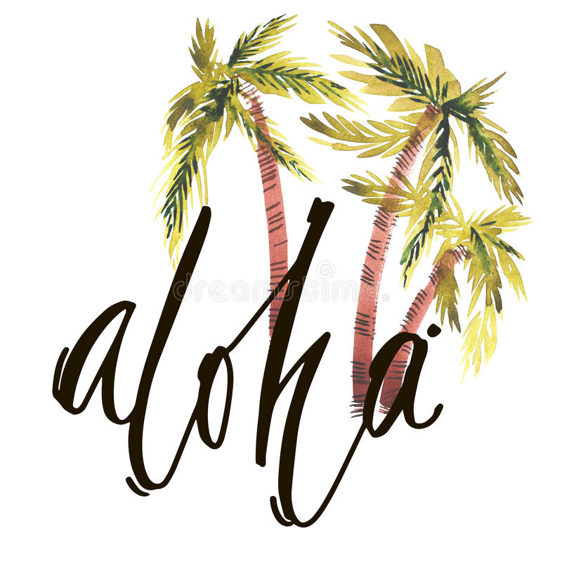 Vintage watercolor summer aloha print with typography design, palm trees and lettering. Tropical set, fashion , T-shirt. Vintage watercolor summer aloha print stock illustration