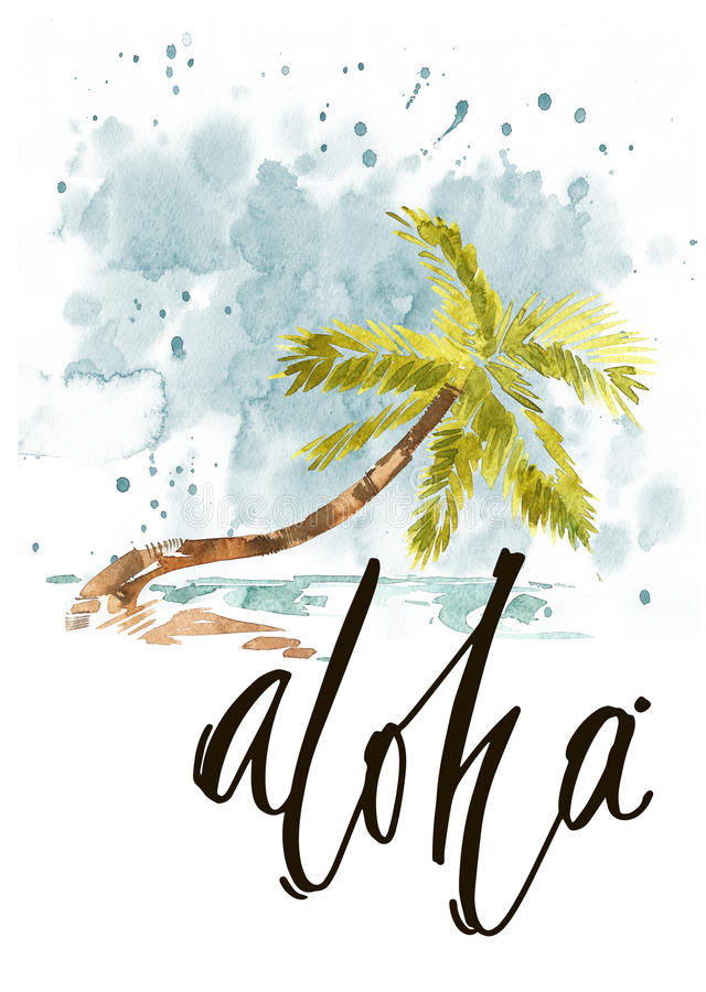 Vintage watercolor summer pacific ocean print with typography design, palm trees and lettering. Tropical set, fashion print, T-shirt design royalty free illustration