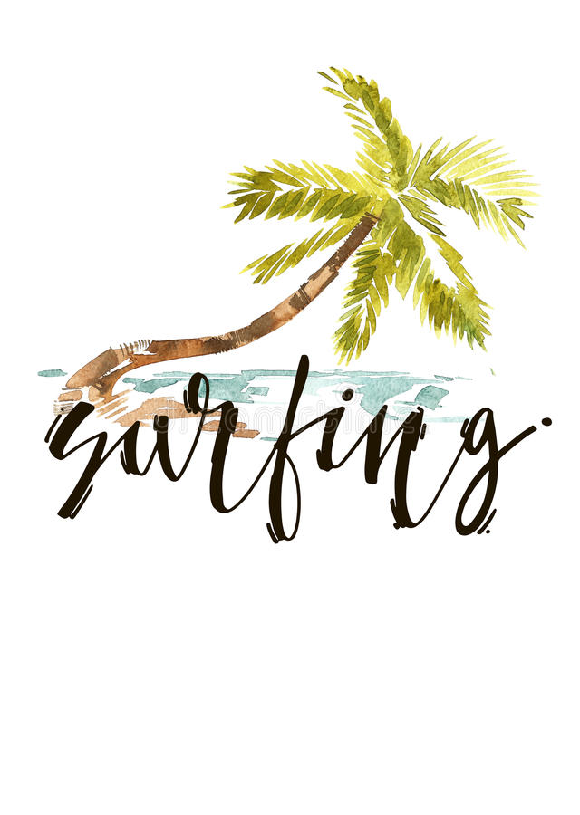 Download Vintage Watercolor Summer Surfing With Typography Design, Trees And Lettering. Tropical Set, Fashion , T-shirt . Stock Illustration - Image: 83703876