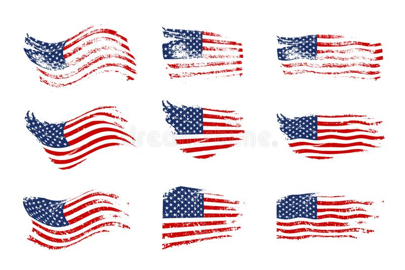 Vintage waving USA flag set. Vector waving American flags on grunge texture. vector illustration