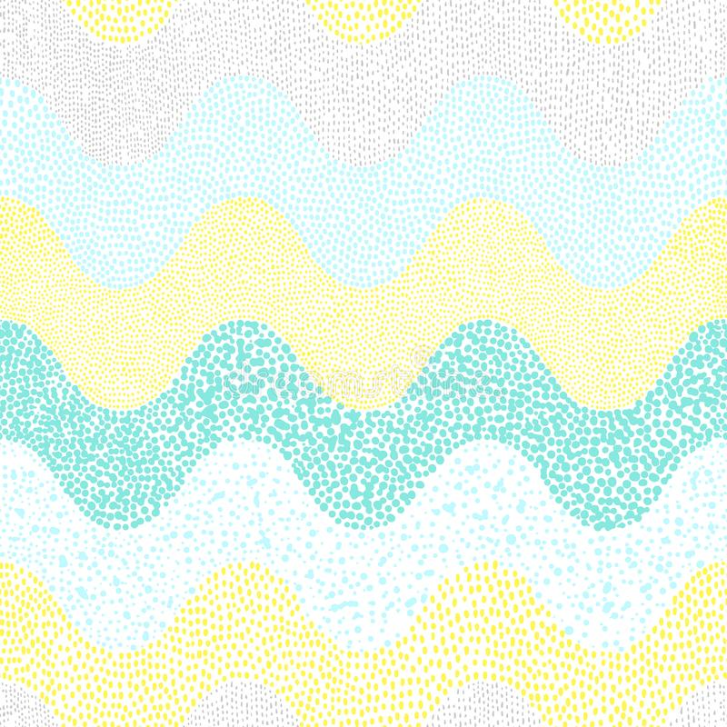 Vintage wavy pattern in the style of doodle. Cute print for text. Iles. Handmade royalty free illustration