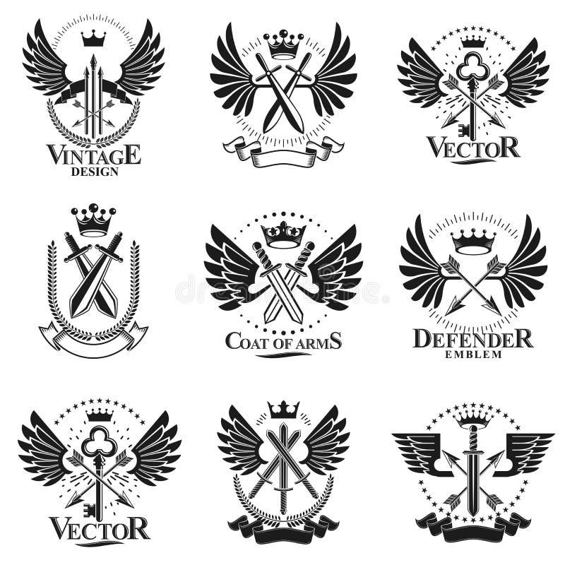 Vintage Weapon Emblems set. Heraldic signs vector vintage elements collection. stock illustration