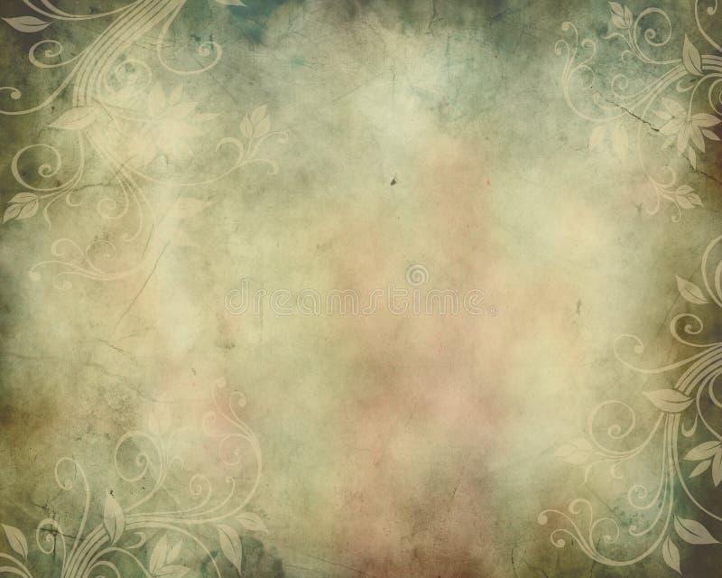 Vintage Background with Swirls stock illustration