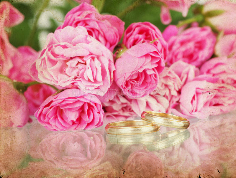 Download Vintage Wedding Background With Flowers And Rings Stock Photo - Image of love, paper: 27143758