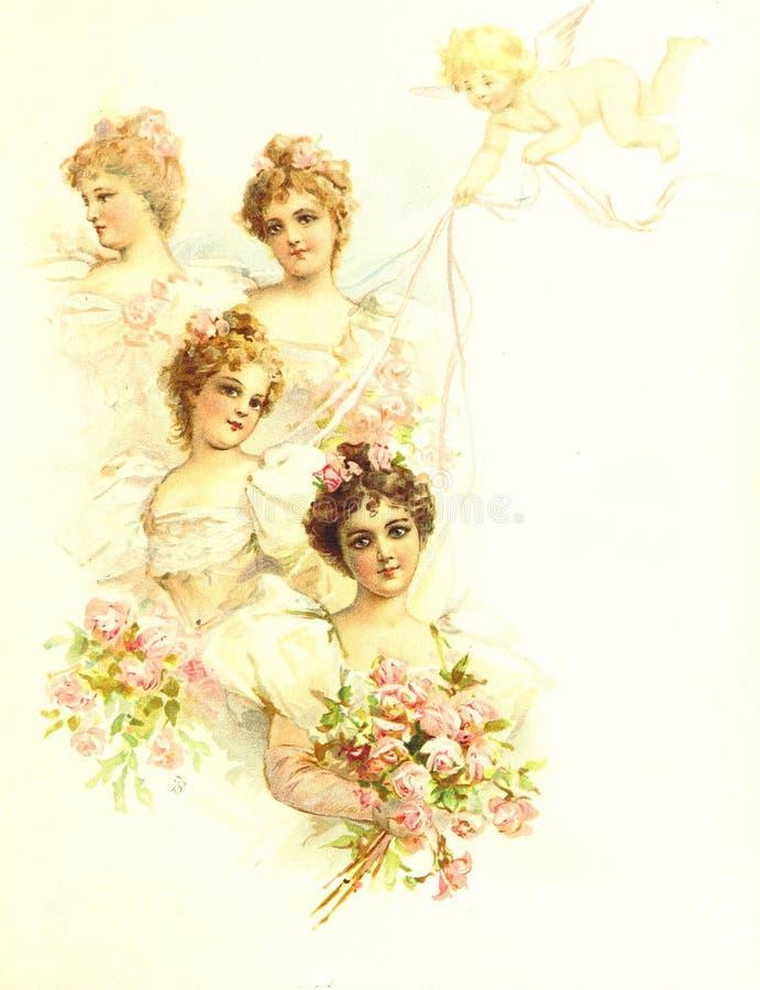 Vintage wedding bridesmaids illustration. Vintage retro wedding bridesmaids illustration vector illustration