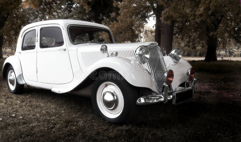 Vintage wedding car stock photos