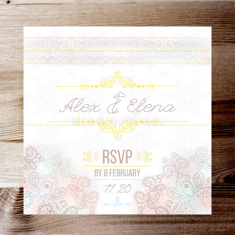 Vintage Wedding card or invitation with abstract lace background and borders on a realistic wood texture.  stock illustration