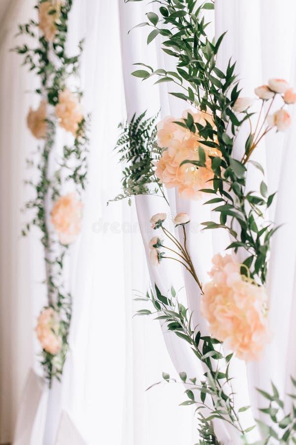 Vintage wedding decor. Beautiful event venue. Creative decoration royalty free stock photography