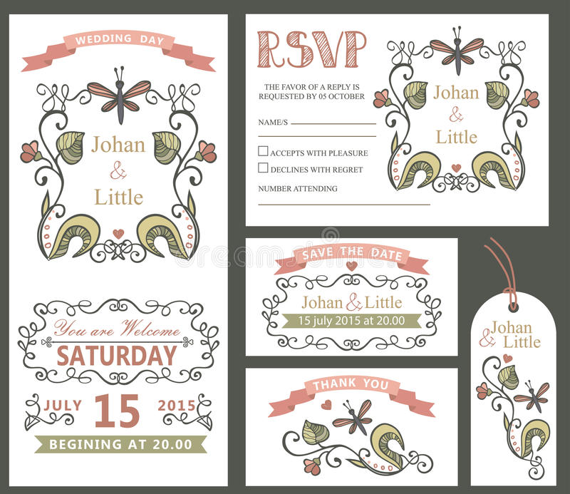 Vintage wedding design template set.Floral decor vector illustration