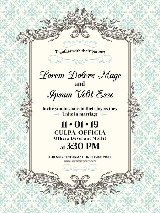 Vintage Wedding invitation border and frame royalty free illustration
