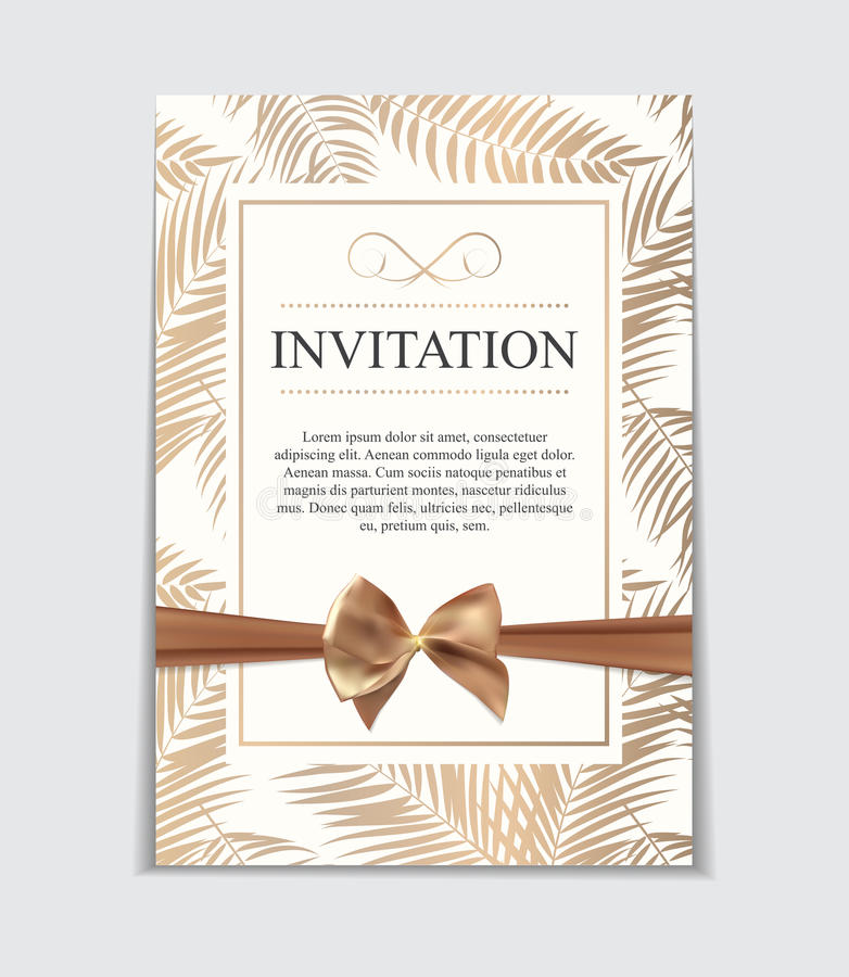 Vintage Wedding Invitation with Bow and Ribbon Template Vector I vector illustration