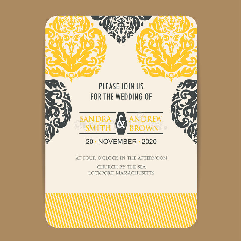 Vintage wedding invitation card. Or announcement with yellow flowers stock illustration