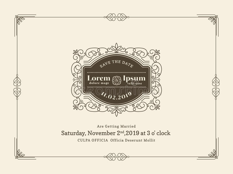 Vintage wedding invitation card border and frame template stock download vintage wedding invitation card border and frame template stock vector illustration of invite stopboris Choice Image