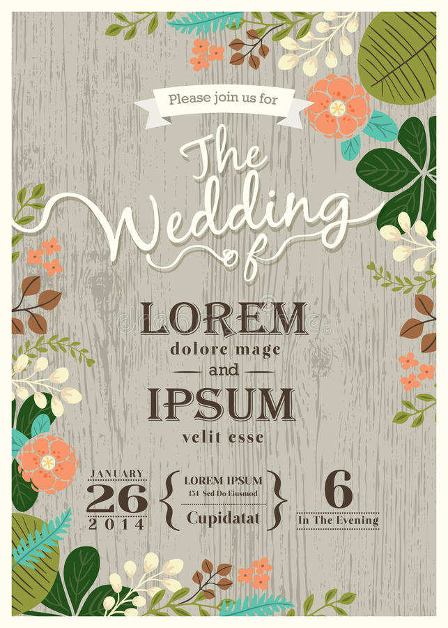 Vintage wedding invitation card with cute flourish background royalty free illustration