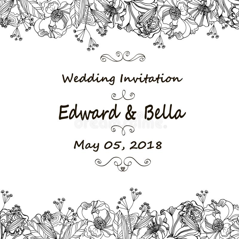 Vintage wedding invitation. Hand drawn vector meadow flowers and stock illustration