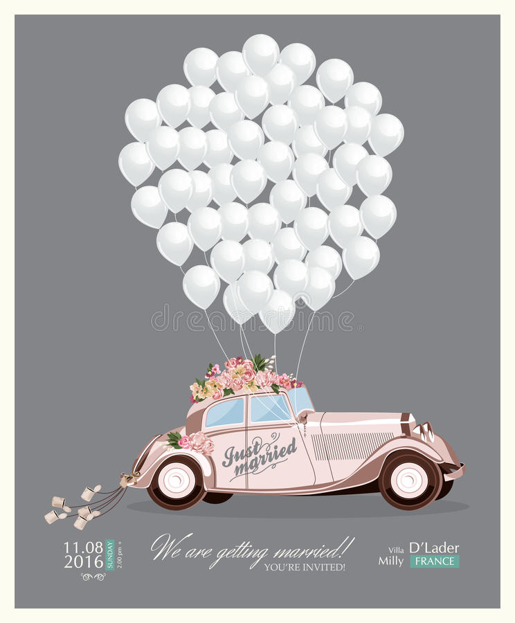 Vintage wedding invitation with just married retro car and white balloons stock illustration