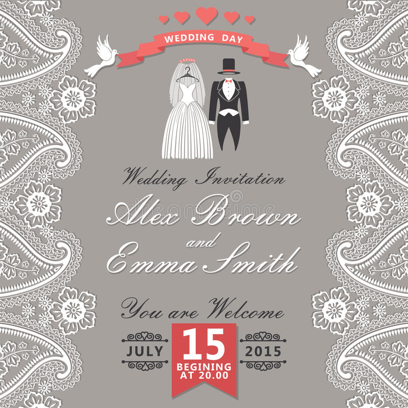 Vintage wedding invitation with Paisley border,cartoon wedding c stock illustration