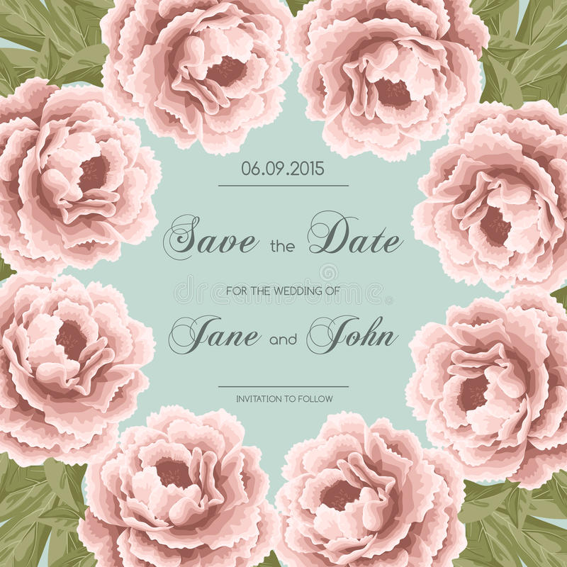 Vintage wedding invitation with peonies royalty free illustration