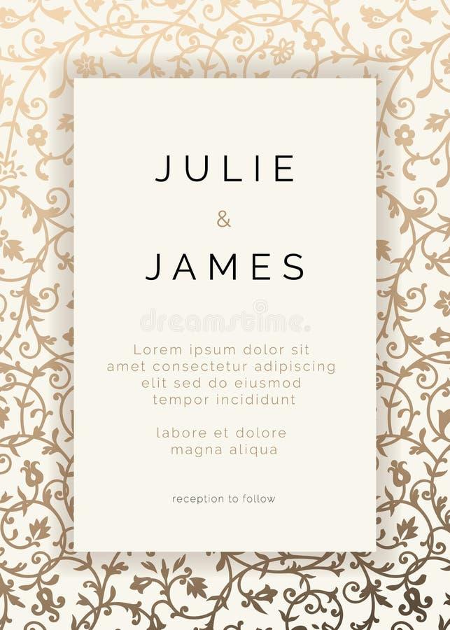 Vintage Wedding Invitation template. With golden floral background. Vector Invitation royalty free illustration