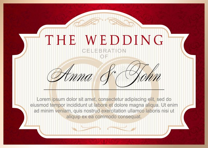 Vintage wedding invitation template, ruby red with gold vector illustration