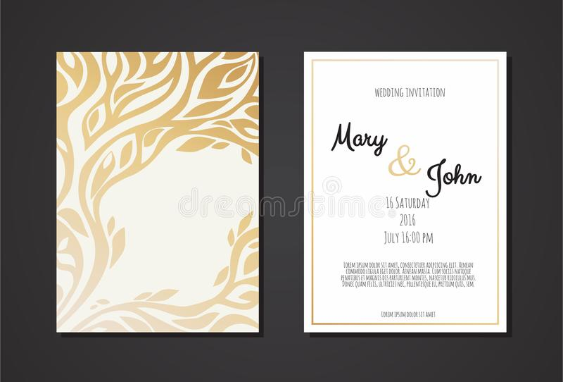 Vintage wedding invitation templates. Cover design with gold leaves ornaments. stock illustration