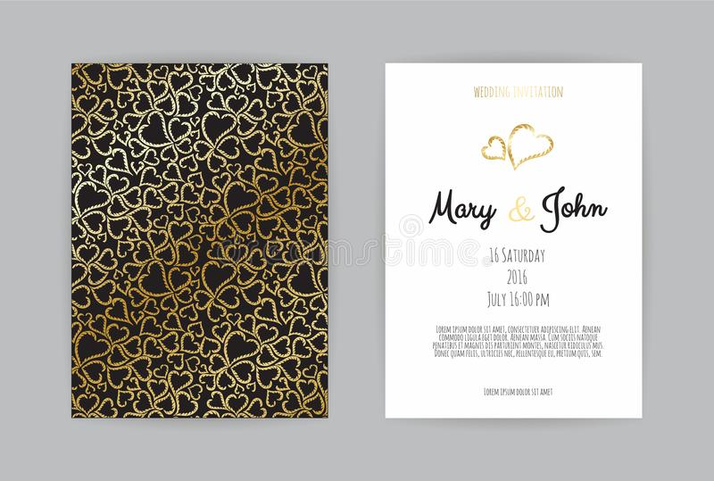 Vintage wedding invitation templates. Cover design with gold leaves ornaments. royalty free illustration