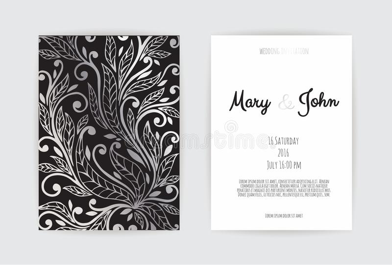 Vintage wedding invitation templates. Cover design with gold leaves ornaments. vector illustration