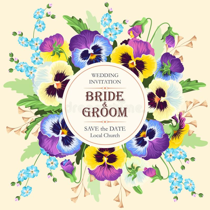 Vintage wedding invitation. Vector wedding invitation with beautiful vintage pansies royalty free illustration