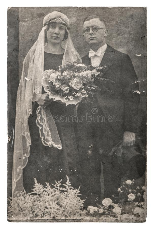 Vintage wedding photo Just married couple royalty free stock photography