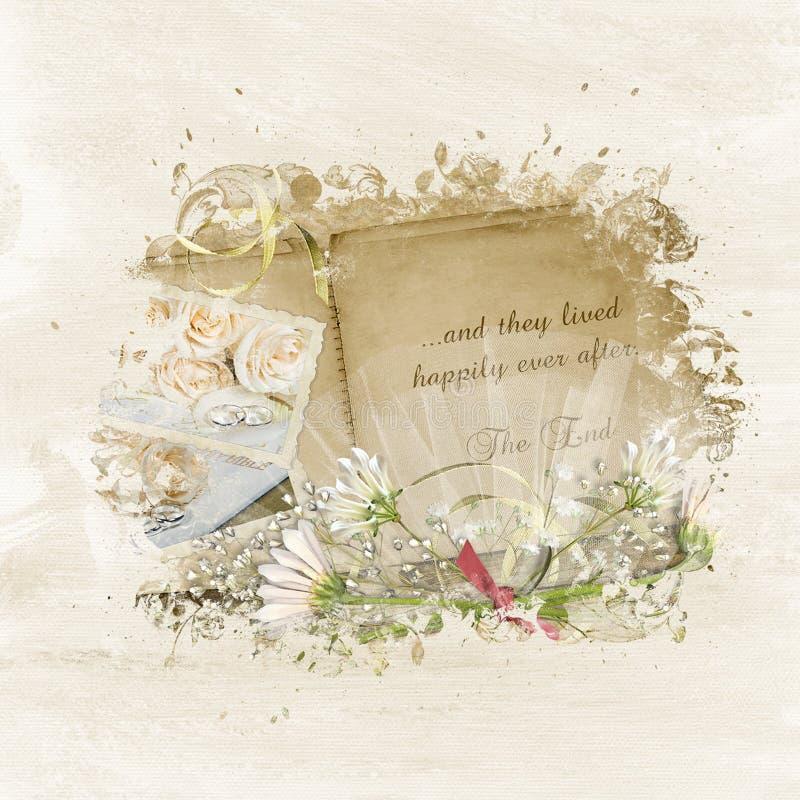 Classic Wedding Album Design: Vintage Wedding Scrapbook Stock Illustration. Illustration