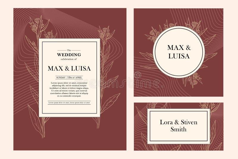 vintage wedding set with botanical wedding invitation save the