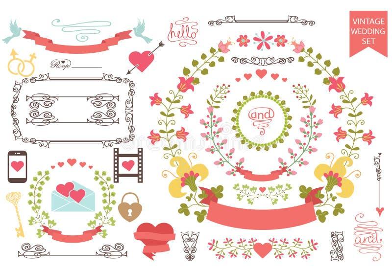 Vintage wedding set.Floral wreath,icons, swirling stock illustration
