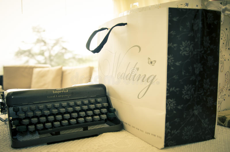 Download Vintage wedding typewriter stock photo. Image of gift - 43025704